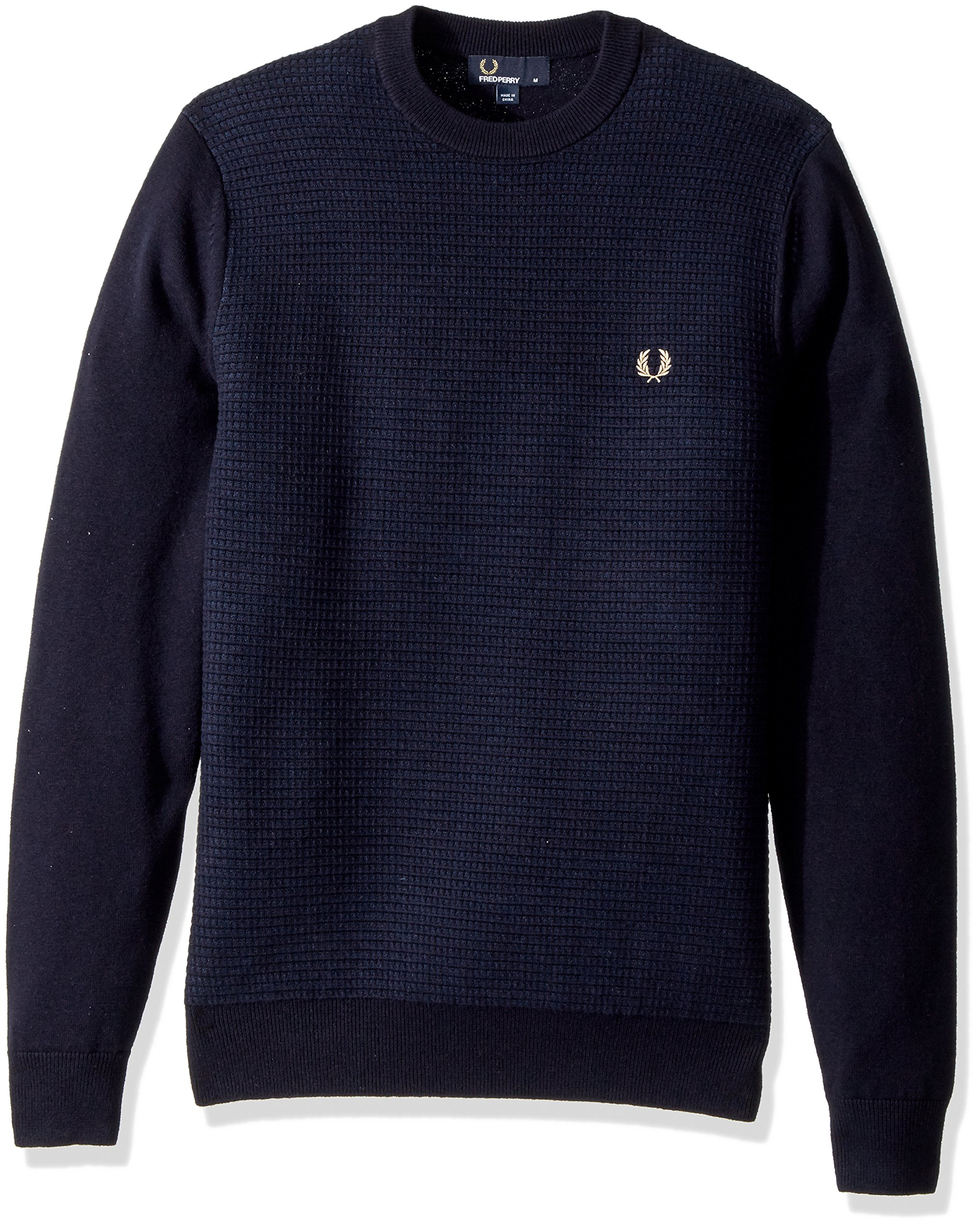 Fred Perry Men's Textured Crew Neck Jumper, Navy, X-Large