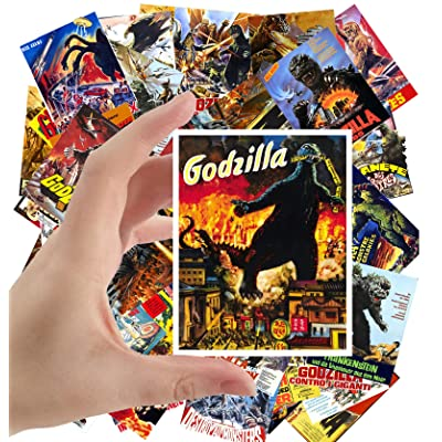 "Large Stickers (24 pcs 2.5""x3.5"") Godzilla Vintage Movie Poster Kaiju Horror Monster: Toys & Games"