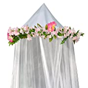 Bobo and Bee - Enchanted Bed Canopy Mosquito Net For Girls, Kids, Baby, With Detachable Pink Rose and Ivy Garland - Twin Size, White with Satin Trim - Perfect Boho Woodland Nursery Decor