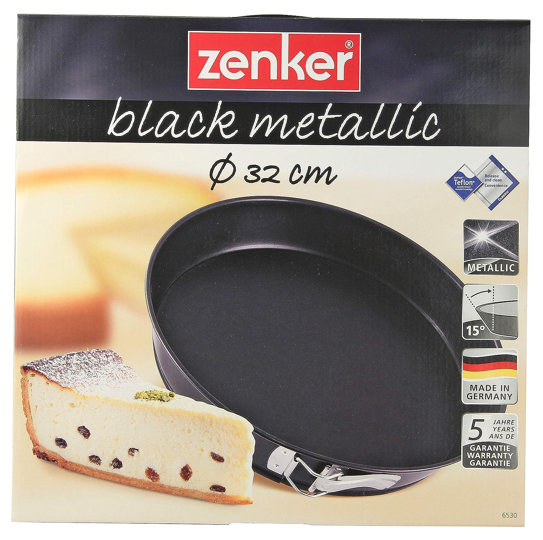 Zenker 6530 Moule /à charni/ère avec Fond Plat /Ø32 cm Noir-m/étallique Acier Inoxydable 32,5 x 60 x 6 cm
