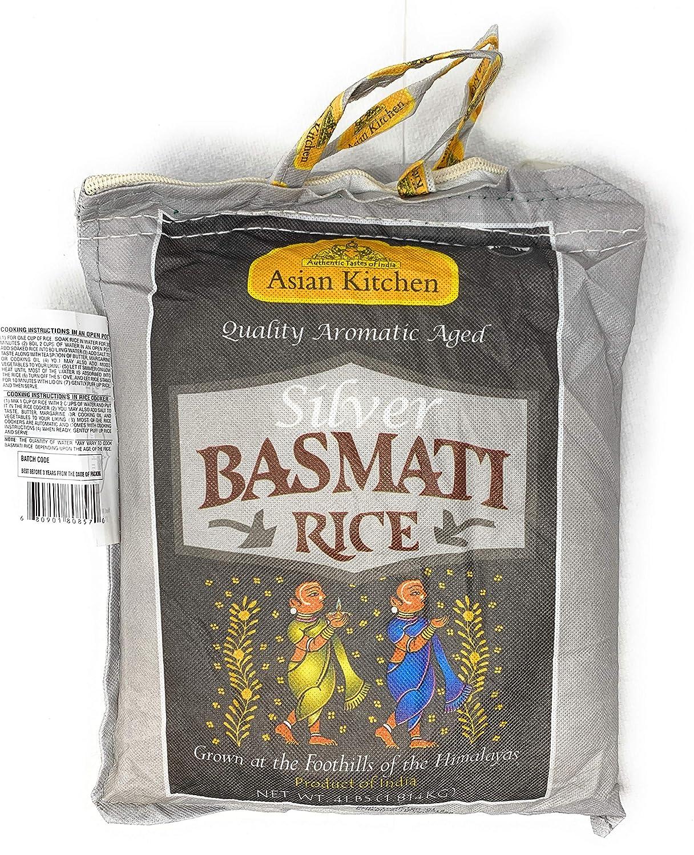 Asian Kitchen Silver White Basmati Rice Aged, 4 Pound (4lbs, 1.81kg) ~ All Natural   Vegan   Gluten Free Ingredients   Indian Origin