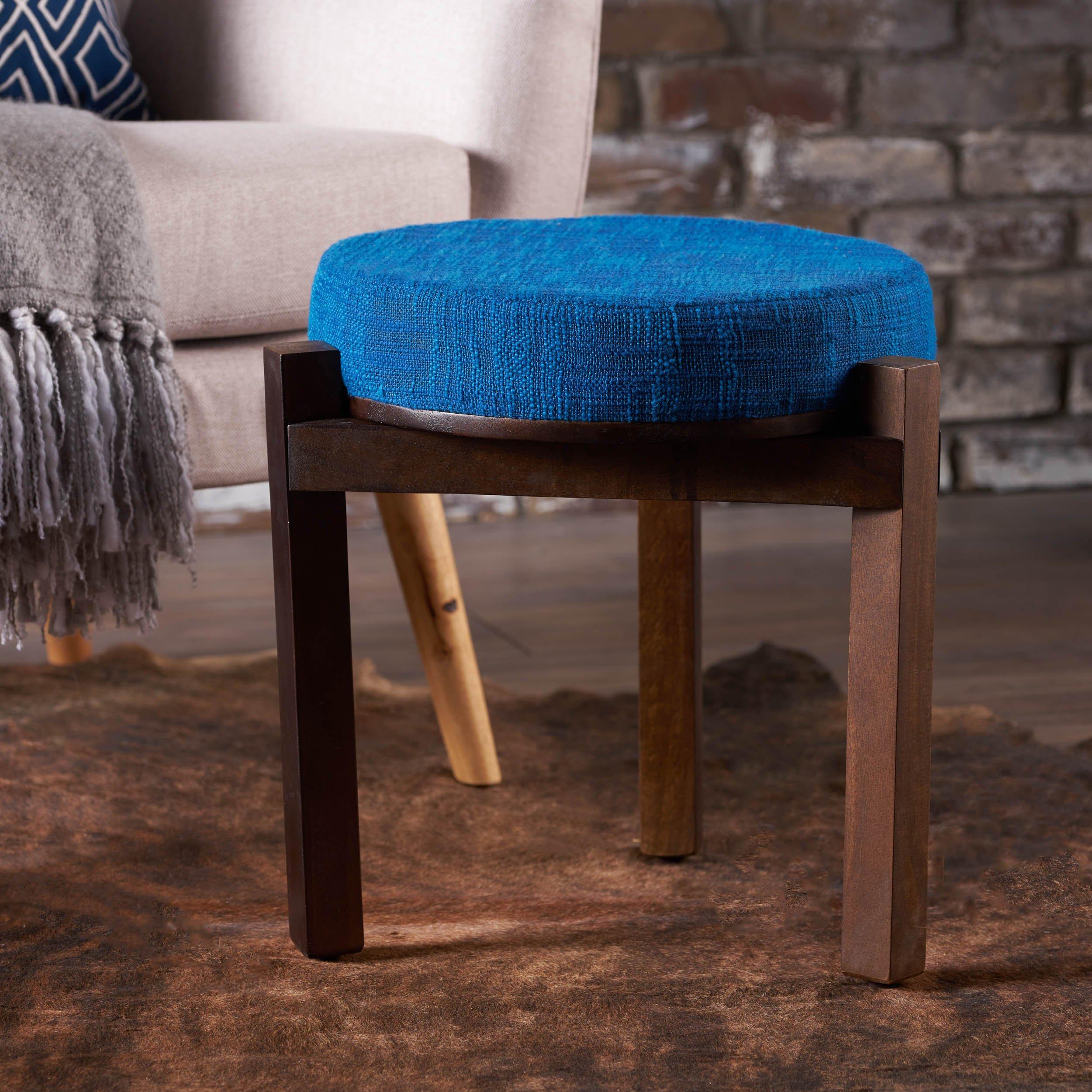 Christopher Knight Home 300916 Living D'Artagnan Fabric Stool Mango Wood Frame (Blue) Walnut