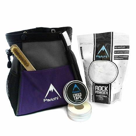 Psychi ABYSS - Juego de bolsa de magnesio para escalada de paredes de roca con cinta de tiza y cepillo, blanco: Amazon.es: Deportes y aire libre