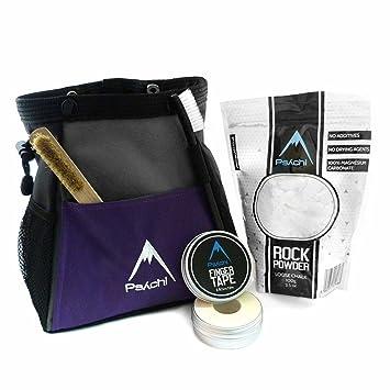 Psychi ABYSS - Juego de bolsa de magnesio para escalada de paredes de roca con cinta de tiza y cepillo, morado: Amazon.es: Deportes y aire libre