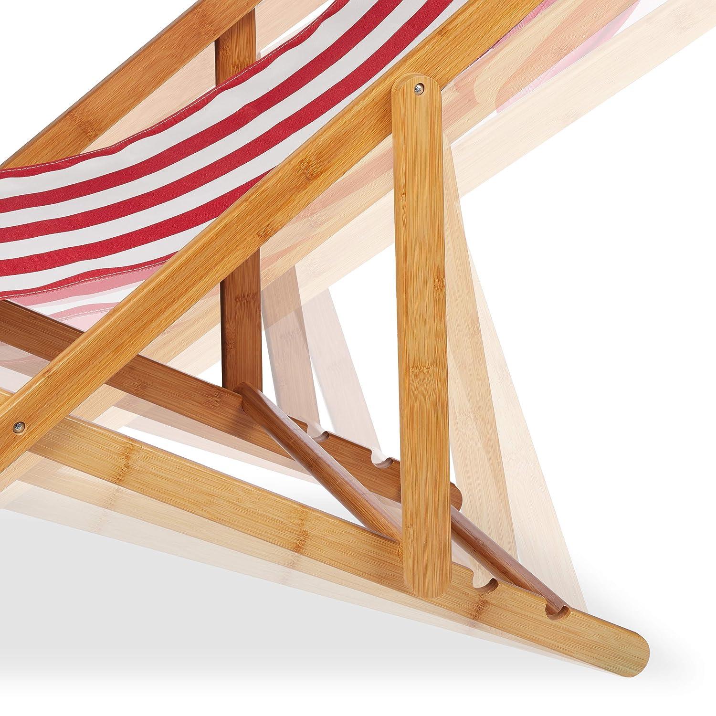 Stoffbezug mit Kissen faltbar Klappliegestuhl aus Bambus Relaxdays Liegestuhl im 2er Set blau f/ür Garten /& Balkon