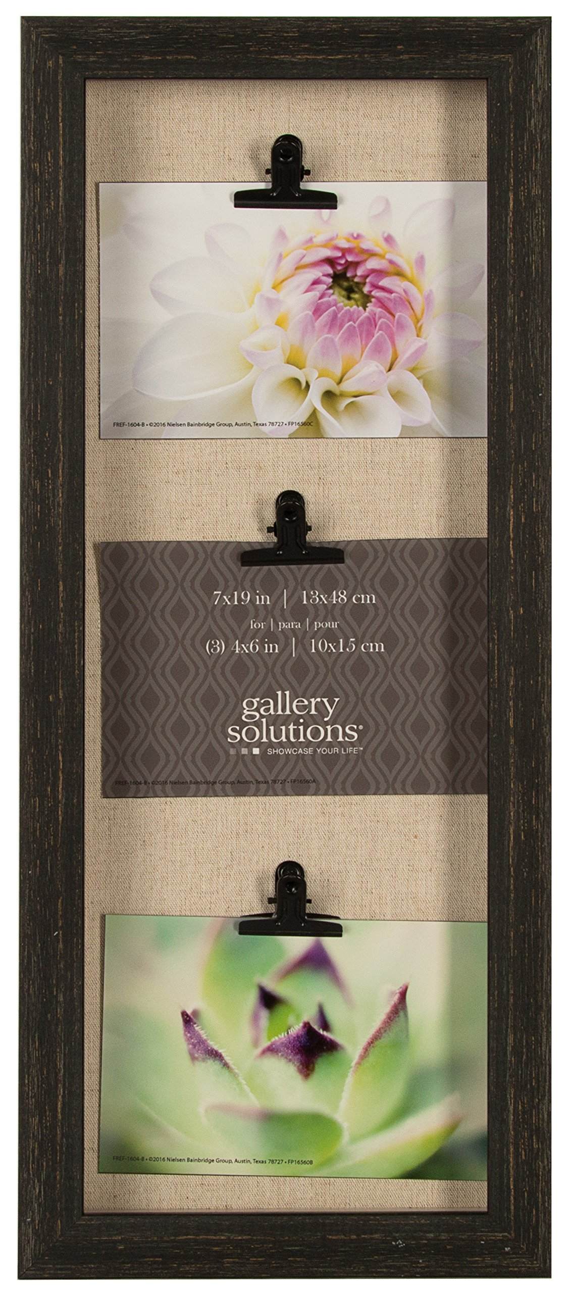 Gallery Solutions Distressed Triple 7X19 Charcoal 3 Clip Shadow Box Frame W/Linen, Grey by Gallery Solutions