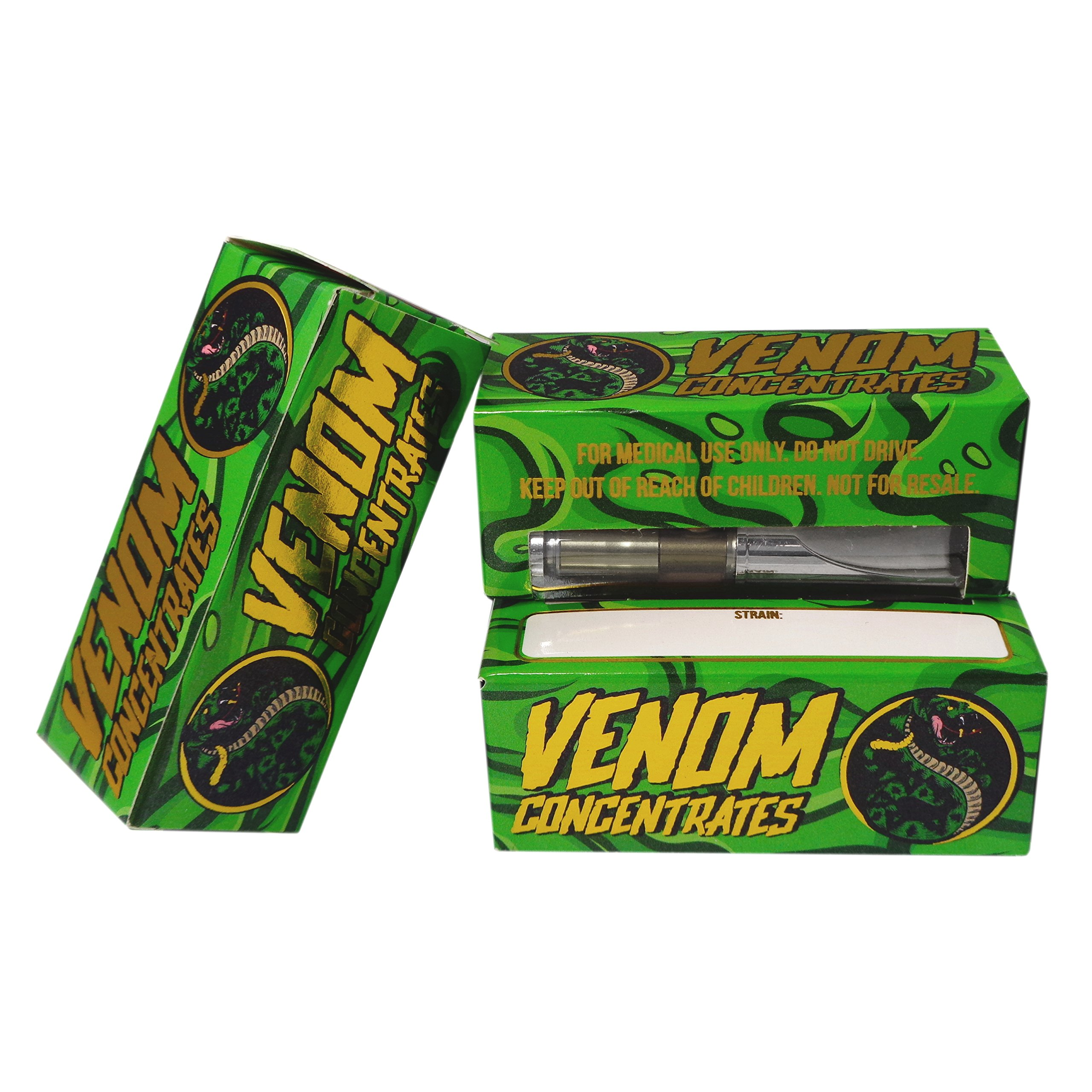 50 VENOM CONCENTRATES Oil Empty Distillate Packaging Extra Slim Boxes by Shatter Labels VB-031