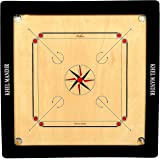 GSI Khel Mandir 33 Inch Practice Carrom Board with Coins, Striker and Powder (Beige and Black)