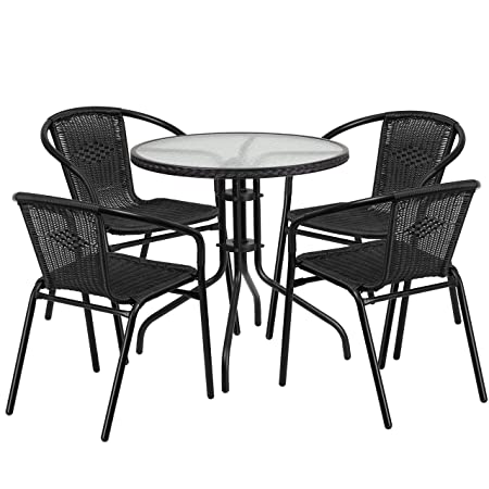 Flash Furniture 28 Round Glass Metal Table with Black Rattan Edging and 4 Black Rattan Stack Chairs