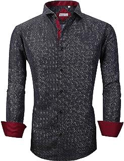 YYear Men Printed Regular Fit Long Sleeve Casual Business Button Up Dress Shirt