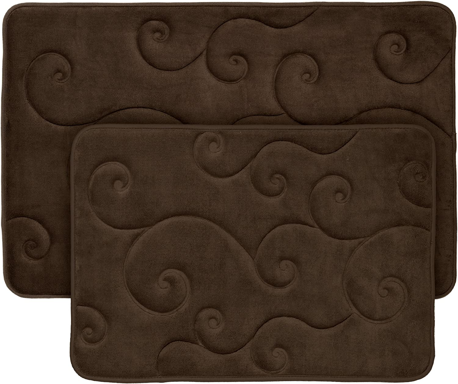 2 pc Memory Foam Bath Mat Set by Lavish Home - Coral Fleece Embossed Pattern - Chocolate