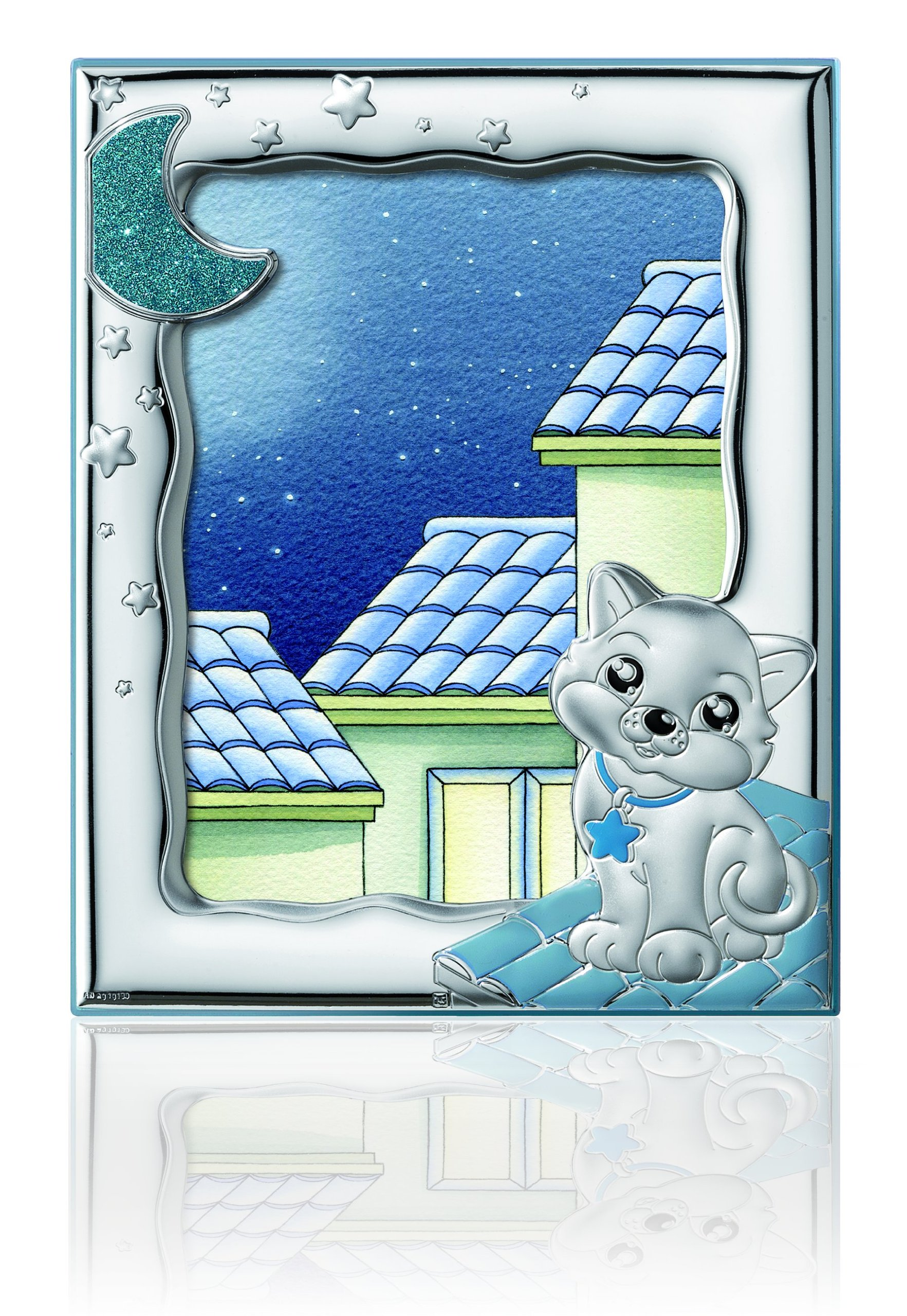 Silver Touch USA Sterling Silver Picture Kitty Frame, Blue, 5'' x 7'' by Silver Touch USA