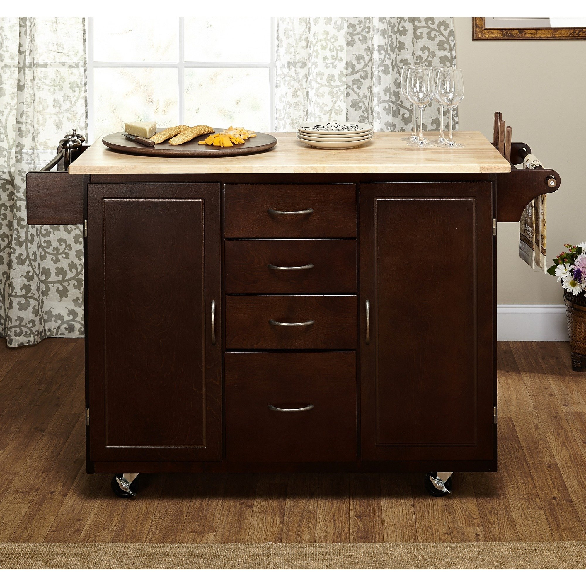 An Attractive Espresso Kitchen Cart That Features a Natural Wood Countertop with Plenty of Storage for Small Kitchens. Mouse Pad Included