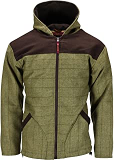 d922cc3893770 Bradshaw & Bentley Mens Tweed Breathable Waterproof Hoodie Hooded Jacket  Coat Zip Up Wool Hoody Casual