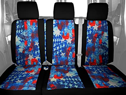 Superb Caltrend Rear Row 60 40 Split Bench Custom Fit Seat Cover For Select Honda Odyssey Models Neosupreme Stars And Stripes Insert And Black Trim Dailytribune Chair Design For Home Dailytribuneorg