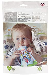 Fill n Squeeze Refill Pack of Reusable Non S Pouches For Babies and Toddlers, 10 x (50z) 150 ml (to be used with Fill n Squeeze Pouch Filling Station). BPA Free and Reusable. NO SPILL POUCH