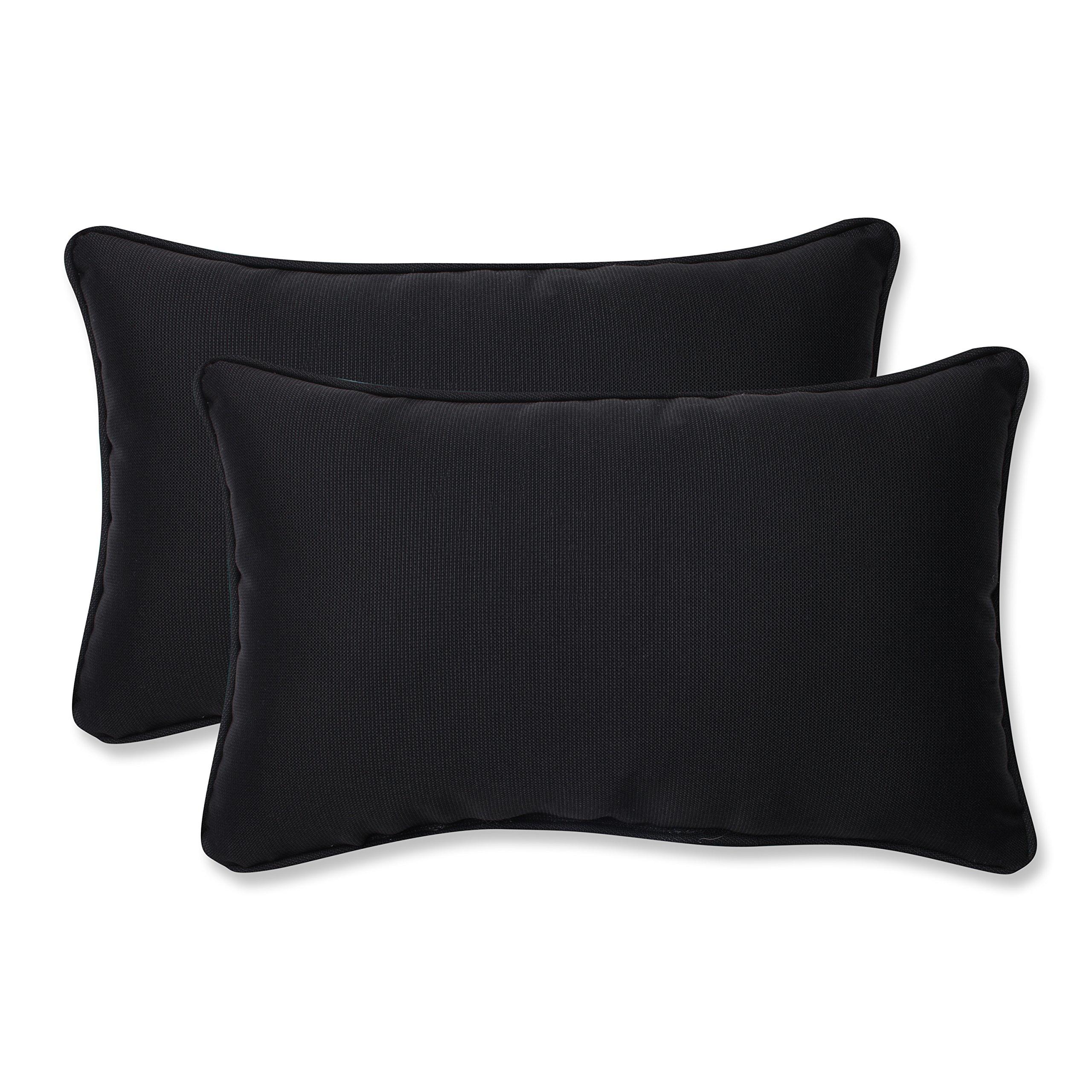 Pillow Perfect Outdoor Fresco Corded Rectangular Throw Pillow, Black, Set of 2 by Pillow Perfect (Image #1)