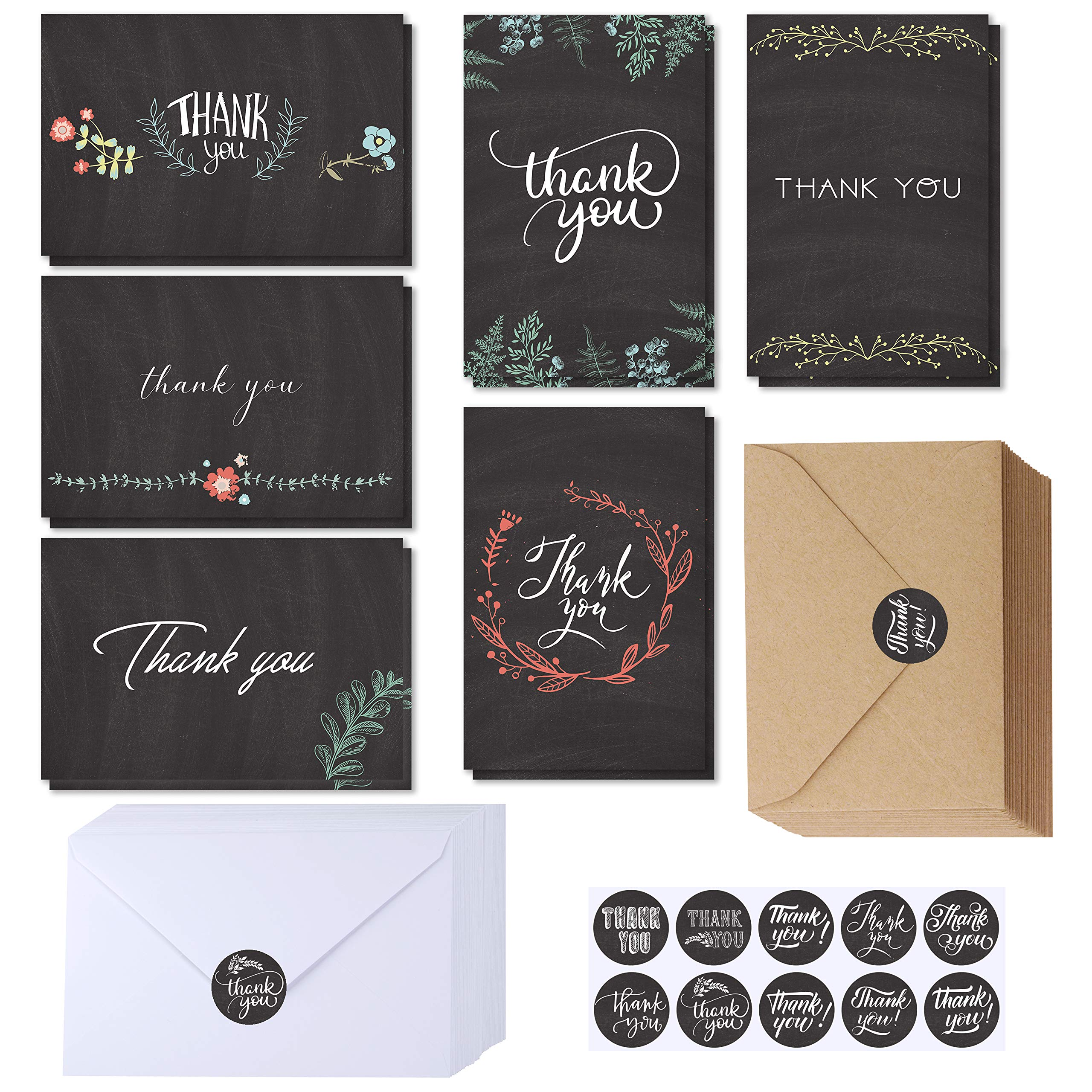Supla 150 Sets Thank You Cards with Envelopes Stickers Bulk Thank You Notes 6 Designs of Chalkboard Floral Thank You Note Cards Vintage Blank Thank You Card 4 x 6 for Wedding Bridal Baby Shower by windiy