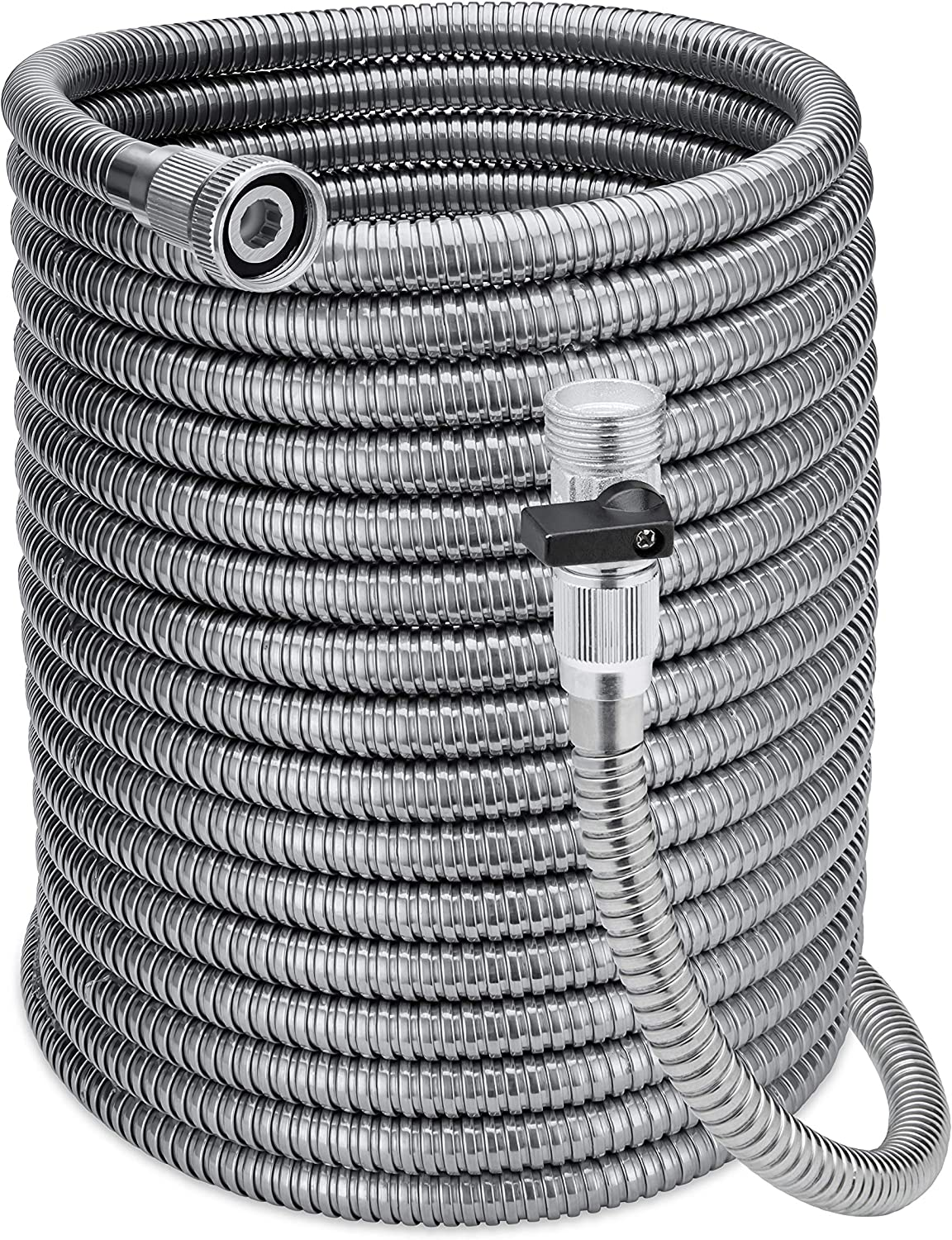Morvat 50 Foot Stainless Steel Garden Hose with Shut-Off Valve, Garden Hose Stainless Steel 50ft, Resistant to Tangles and Punctures, Heavy Duty Garden Hose 50 FT