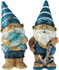 Juego de 2 figuras de gnomo de jardín, con pez y con ancla, 21 cm, color azul