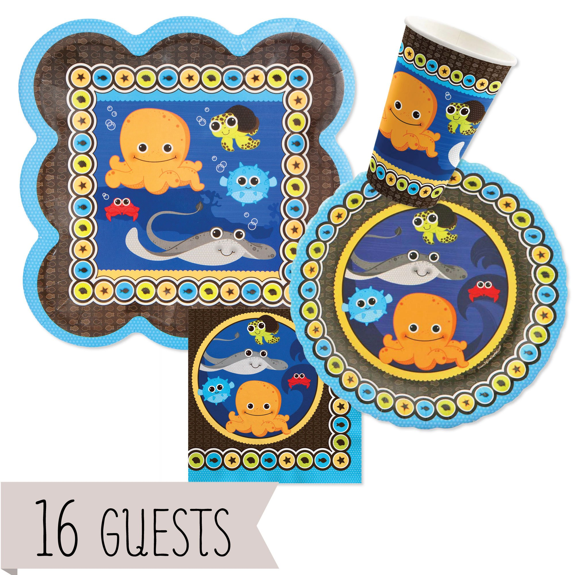 Big Dot of Happiness Under The Sea Critters - Baby Shower or Birthday Party Tableware Plates, Napkins - Bundle for 16