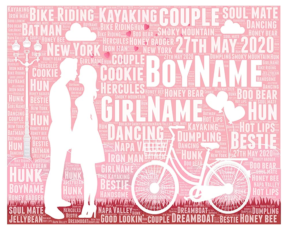 Anniversary Gift for Couple Personalized - Boyfriend Girlfriend Gifts for christmas - Husband Wife Typography Wordle Wordart Portrait Wall Decor Print 8x10 Inch…