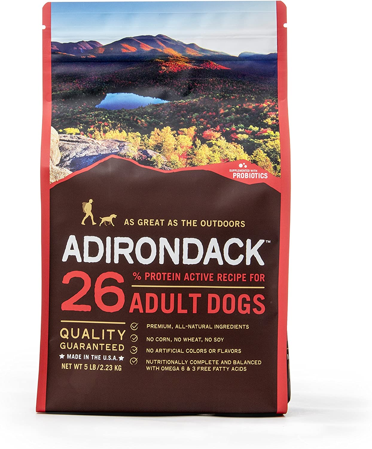 Adirondack Pet Food 22458 26% Protein Everyday Dog Food Recipe For Adult Dogs, 15Lb.