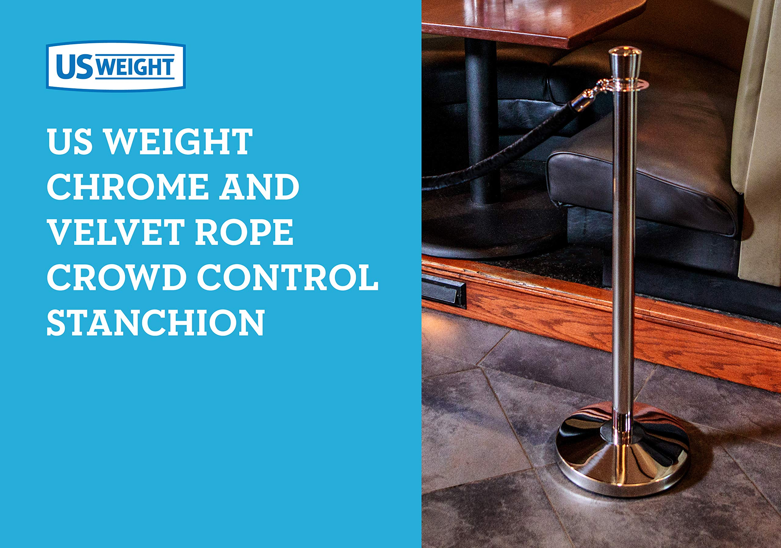 US Weight Premier Chrome Post and Black Velvet Rope Crowd Control Stanchions - 6 Pack, Includes 6 Chrome Stanchions & 5 Velvet Ropes by US Weight (Image #5)