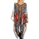 5a11ce406f280 Sakkas Livi Women's V Neck Beach Dress Cover up Caftan Top Loose with  Rhinestone