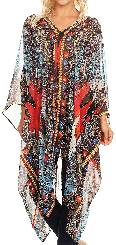 eb90d28e25b48 Sakkas 1823 - Livi Women's V Neck Beach Dress Cover up Caftan Top Loose  with Rhinestone - AM107-Multi - OS at Amazon Women's Clothing store: