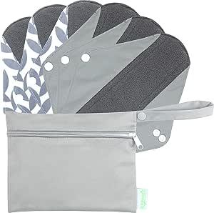 Wegreeco Bamboo Reusable Sanitary Pads (New Pattern)- Cloth Sanitary Pads, Cloth Pads, Reusable Menstrual Pads - 6 Pack Pads, 1 Cloth Mini Wet Bag Bonus (Medium, Luxury)