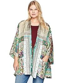a30a2b78062 Johnny Was Women s Size Plus Printed Silk Kimono with Tie