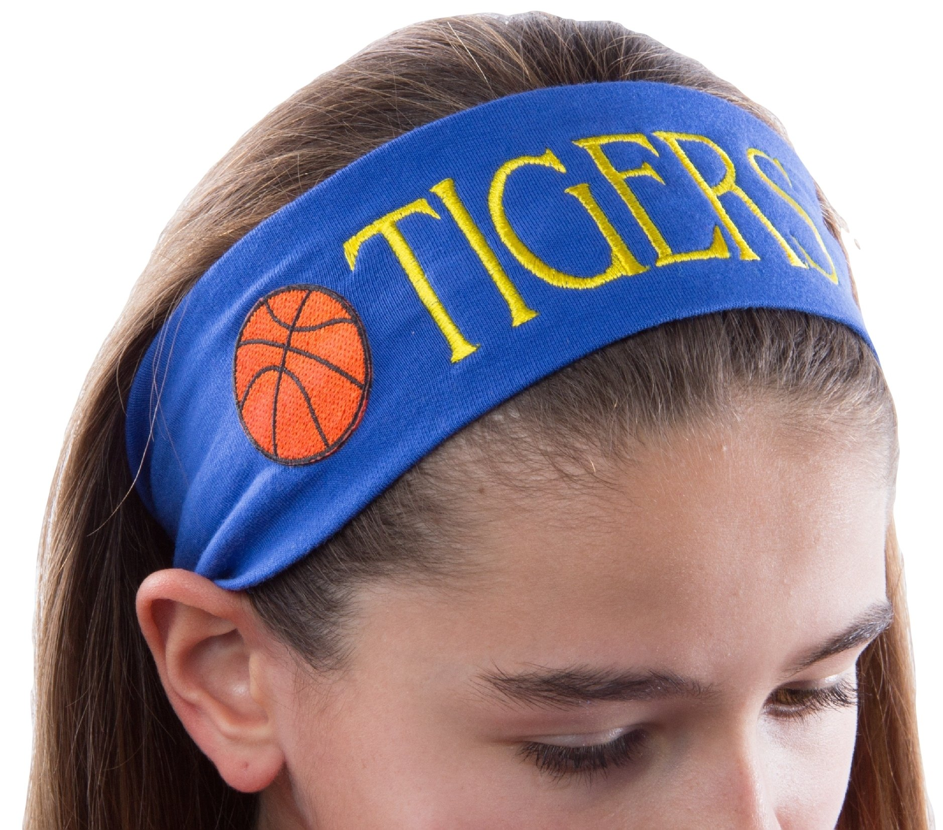 Personalized Monogrammed Embroidered BASKETBALL Patch Cotton Stretch Headband CHOOSE YOUR CUSTOM COLORS FROM CHARTS IN THIS LISTING