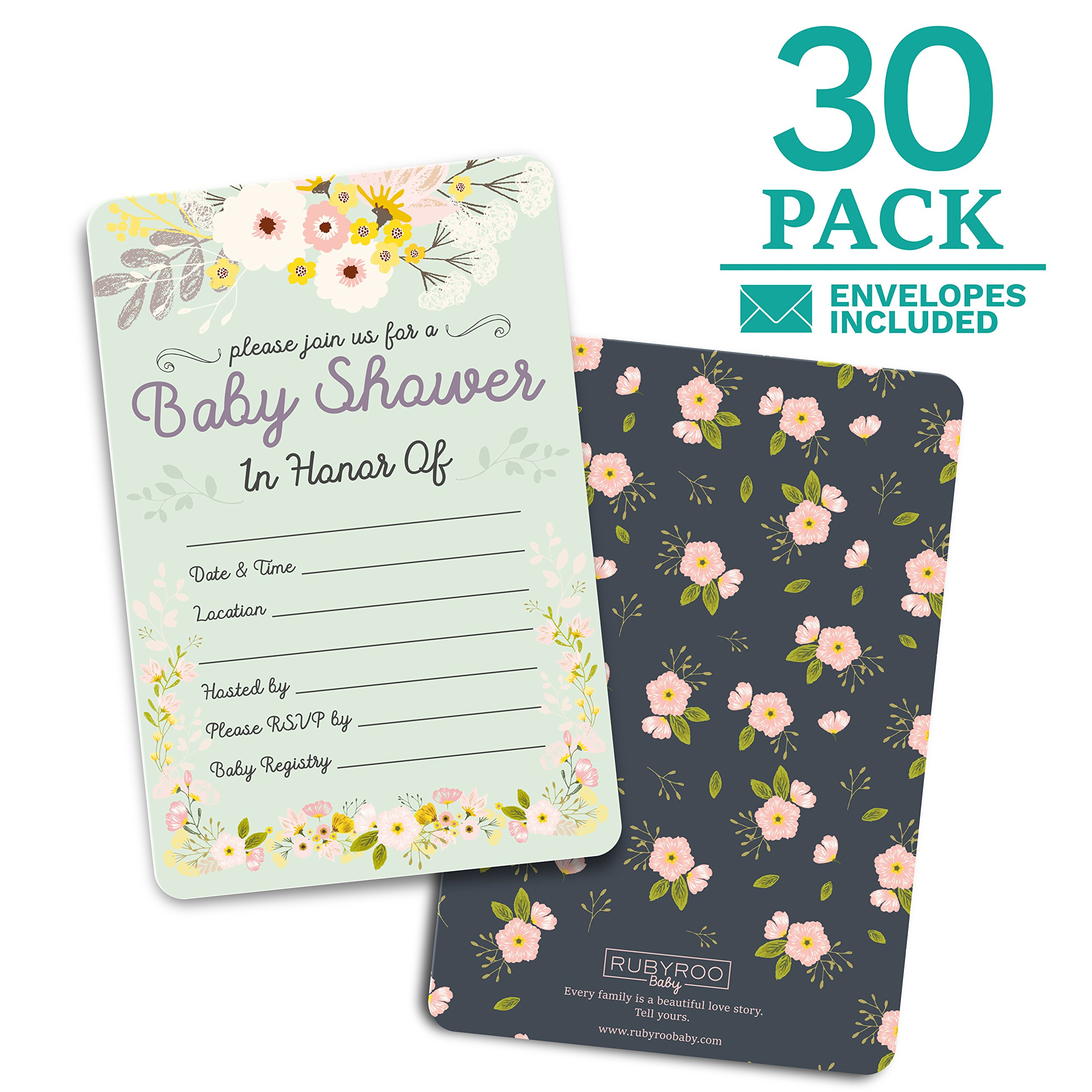 Baby Shower Invitations - 30 cards + envelopes. Gender neutral for boy or girl. Match baby shower games, decorations & favors. Perfect invites for showers, sprinkles or gender reveal party. (Floral)