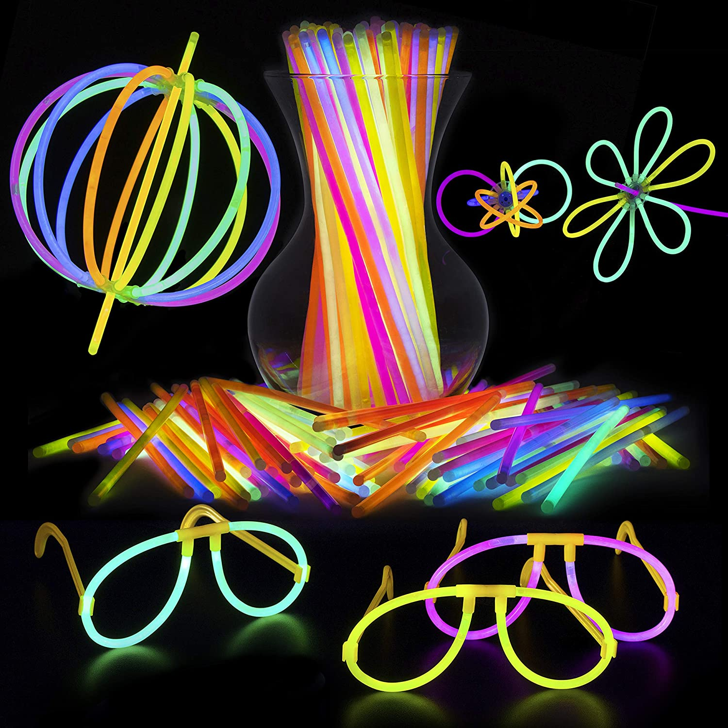 PartySticks Glow Sticks Jewelry Bulk Party Favors 100pk 8 Glow in the Dark Light Up Party Supplies Glow Necklaces or Glow Glasses with Connectors