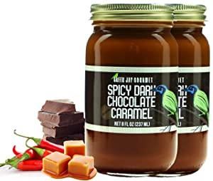 Green Jay Gourmet Spicy Dark Chocolate Caramel Sauce - Cajeta - Gluten Free Caramel Dip - Dulce de Leche - Rich and Buttery - Great for Coffee, Desserts and Snacks - No Preservatives - Made in the USA - 2 x 8 Ounces
