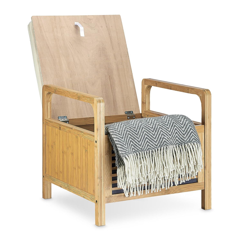 Relaxdays Sitzhocker mit Stauraum, Aufbewahrungsbox mit Sitzkissen ...