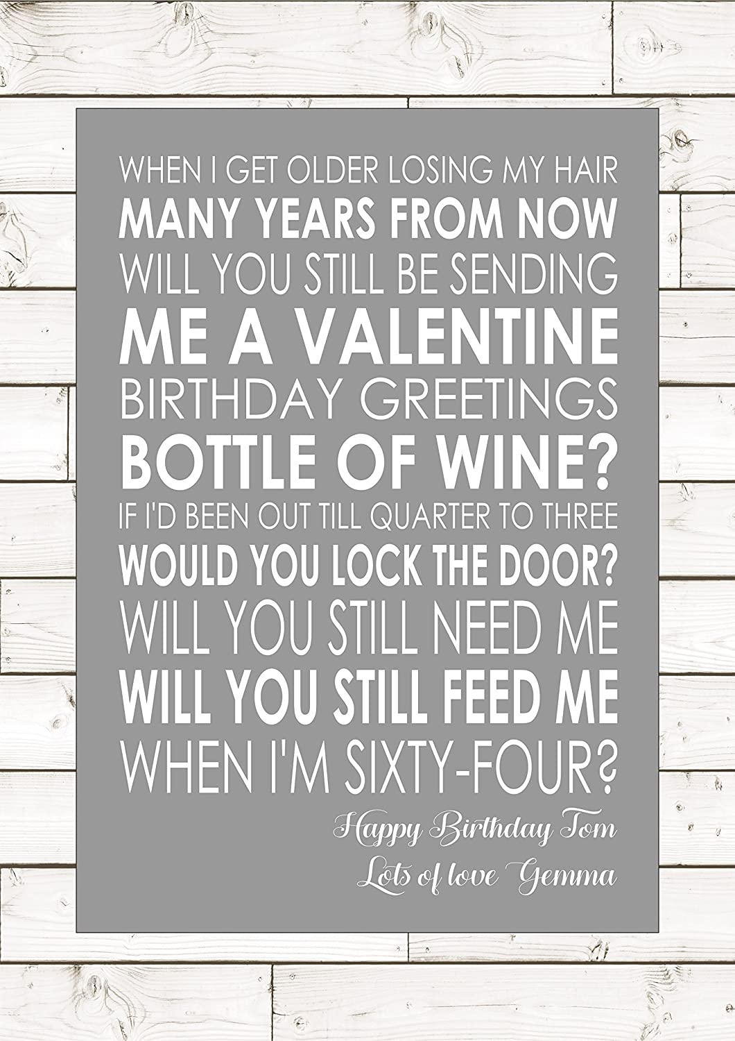 When I M 64 The Beatles Personalised Print Song Lyrics Lyric Word Quote Birthday Gift Amazon Co Uk Kitchen Home