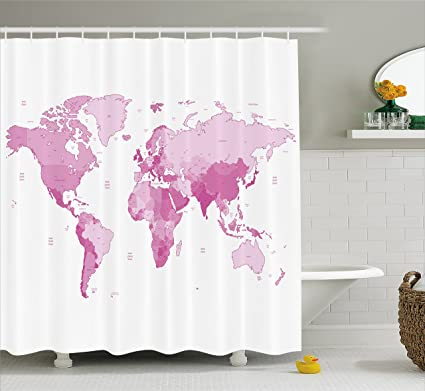 Ambesonne Pale Pink Shower Curtain Cute World Map Continents Island Land Pacific Atlas Europe America