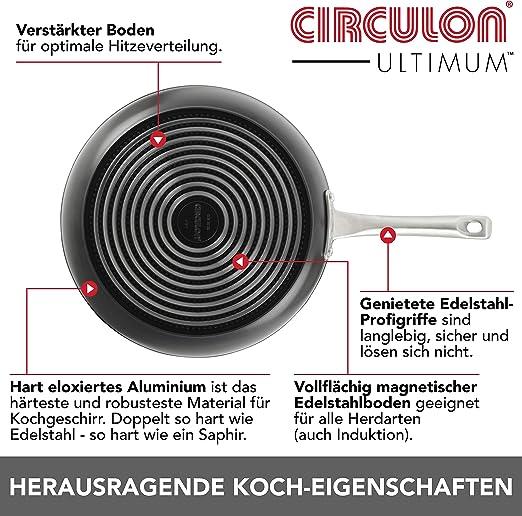 Circulon LEBENSZEIT-GARANTIE Premium Bratpfanne mit einzigartig kratzfester Antihaft-Beschichtung 20cm Pfanne Induktion aus hoch verdichtet geschmiedetem Aluminium