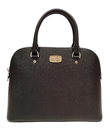 0d06cc364cc8d Amazon.com  Michael Kors Cindy LG Dome Satchel Leather Black (35S6SCPS3L)   Shoes