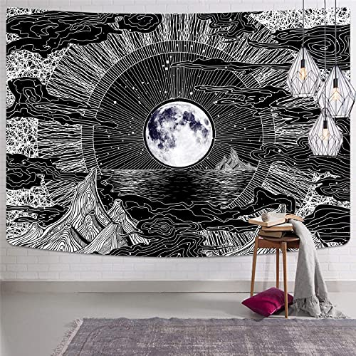 Moon and Star Tapestry Psychedelic Moon Space Tapestries Mountain Clouds Tapestry Black and White Tapestry for Room 70.9 x 92.5 inches