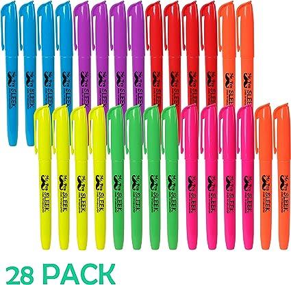 Mr. Pen - Rotuladores fluorescentes fluorescentes, colores surtidos, 28 unidades, fluorescentes, suministros escolares, rotuladores fluorescentes, rotuladores de colores, subrayadores amarillos: Amazon.es: Oficina y papelería