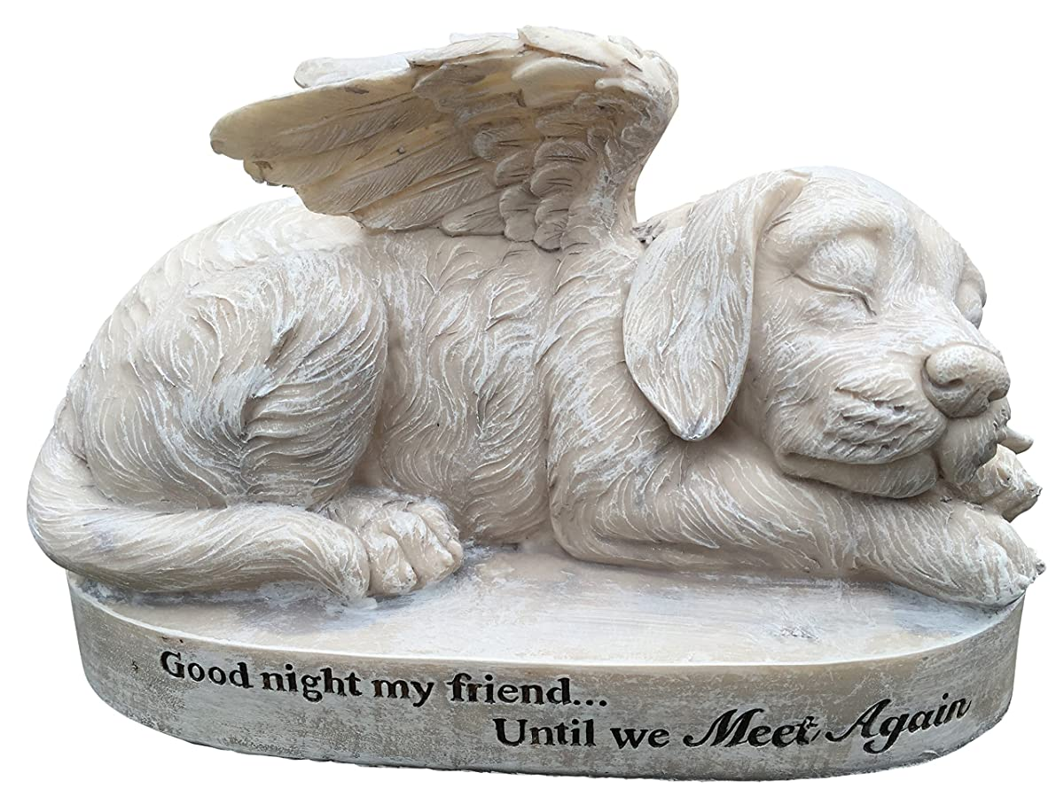 Dog Angel Memorial Marker – Sleeping Angel Devotional Remembrance Marker (Stone)