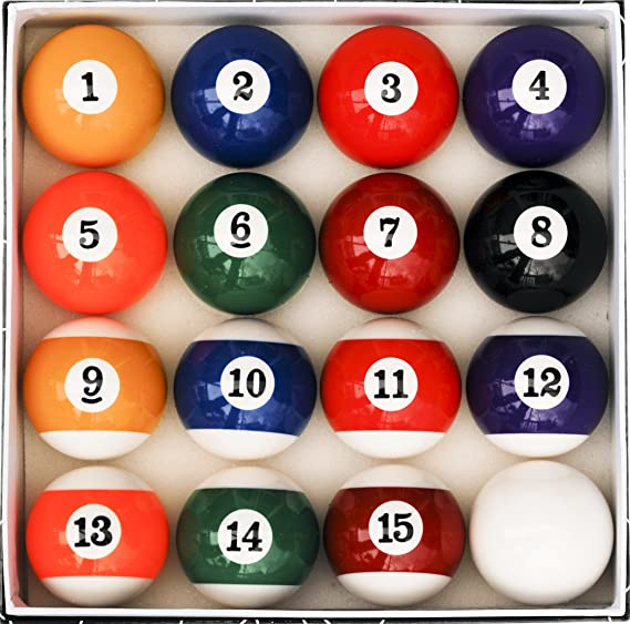 Pool Billiards Ball Set 38,0mm for Small Pool Tables up to 6 foot