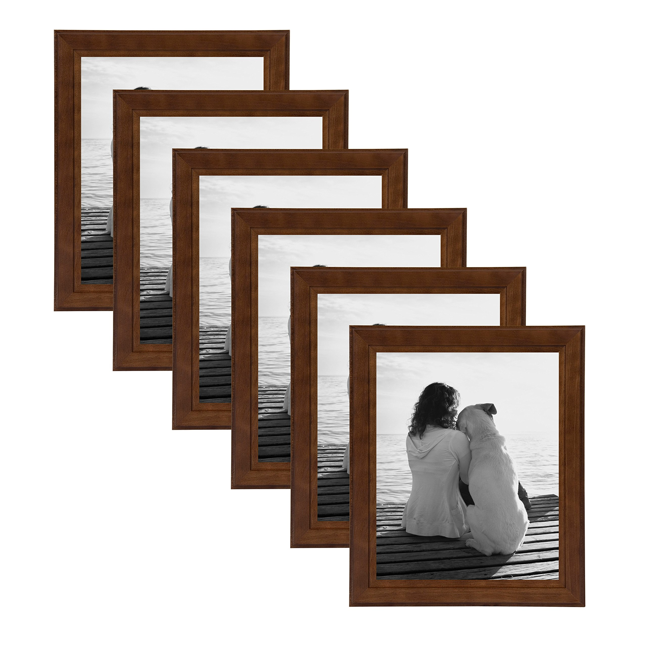 DesignOvation Kieva Solid Wood Picture Frames, Espresso Brown 8x10, Pack of 6