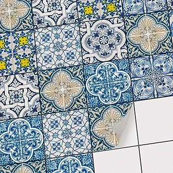Carrelage Autocollant Adhésif Revêtement Pour Carreaux De Ciment I Pvc Stickers Pour Recouvrir Carrelage Mural De Cuisine Et Salle De Bain I Design