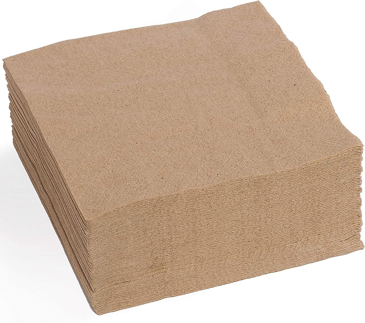 """100 Sustainable Biodegradable Natural Cocktail Napkins – 100% Recycled Paper Beverage Napkins, 4.5""""x4.5"""" – Eco Friendly Compostable Disposable Unbleached Brown Recycled Paper Dinner Napkins – MOCKO"""