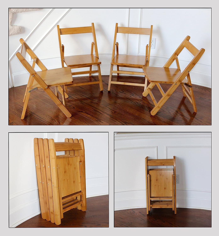 Amazon.com: unicoo – bambú rectangular mesa plegable con 4 ...