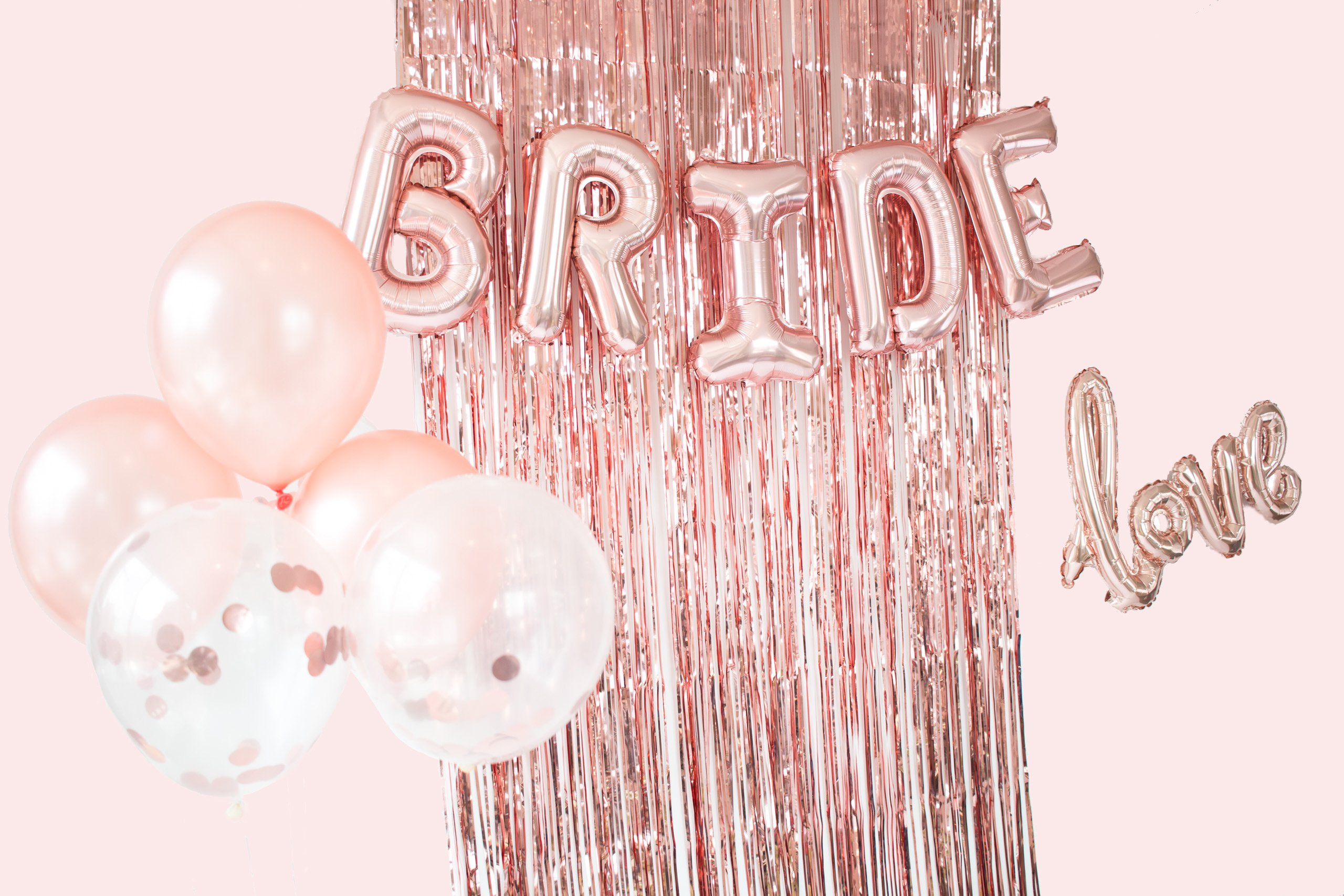 Bachelorette Party Decorations & Bridal Shower Supplies - Rose Gold Kit Includes: Bride & Love Foil Balloons, Rose Gold Fringe Curtain, Confetti & Rose Gold Latex Balloons by Mandie's Party Shop